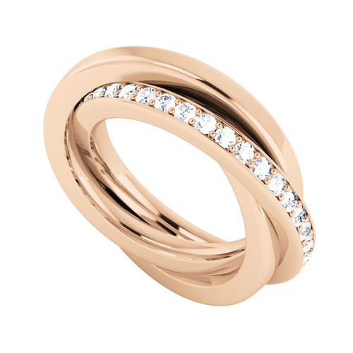 Diamond Russian Wedding Ring - 9ct Rose Gold