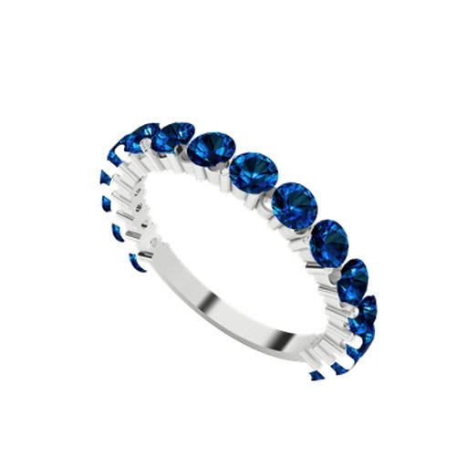 Brilliant Cut Blue Sapphire 9ct White Gold Wedding Ring