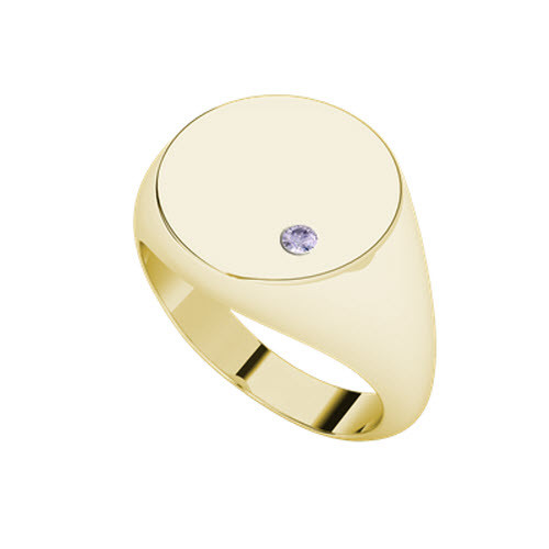 Signet Yellow Gold Ring Round - Amethyst