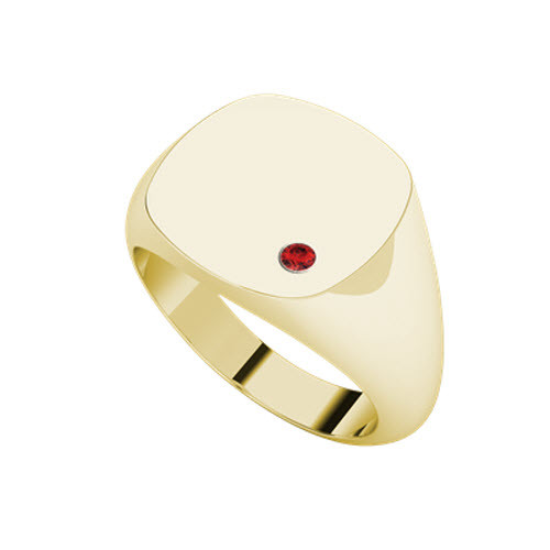 Signet Yellow Gold Ring Square - Ruby