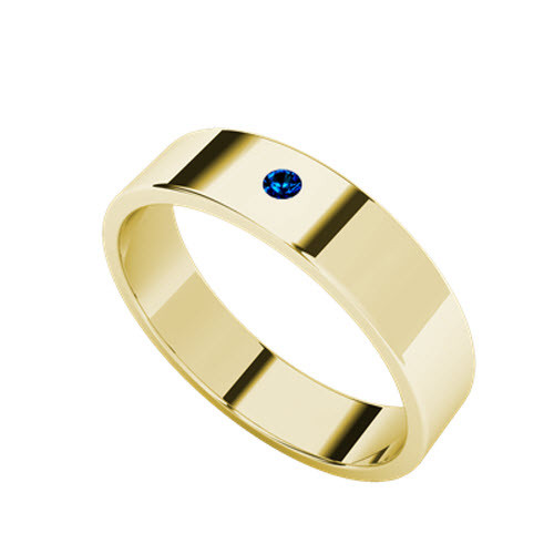 Round Brilliant Cut Blue Sapphire Wedding Ring 9ct Yellow Gold