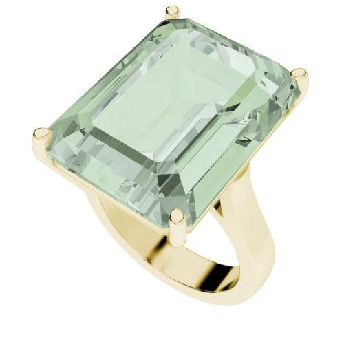 Emerald Cut Green Amethyst 9ct Yellow Gold Cocktail Ring