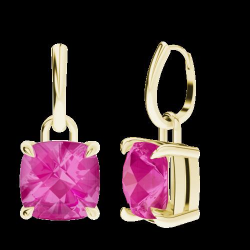 Cushion Checkerboard Pink Sapphire Silver Drop Earrings