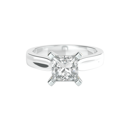 Princess Cut 4 Square Clawed Solitaire 14ct White Gold Engagement Ring - 'Athena'