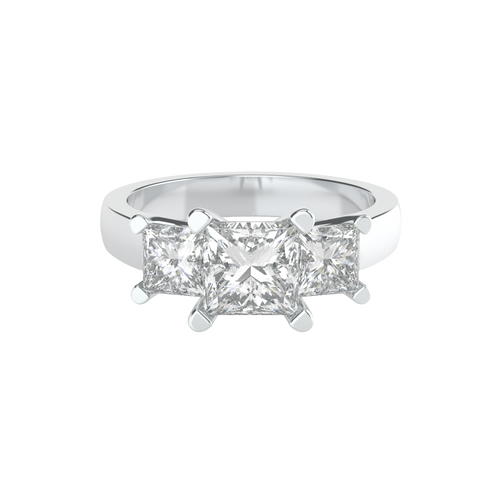 Princess Cut Three Stone 14ct White Gold Engagement Ring - 'Capri'
