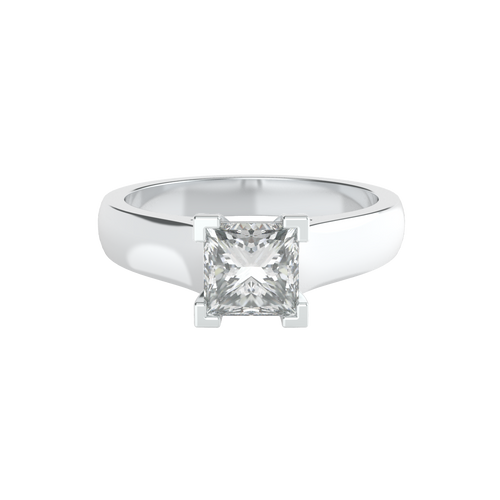 Princess Cut 4 Square Clawed Solitaire 14ct White Gold Engagement Ring - 'Carmel'