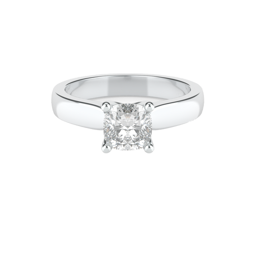 Cushion Cut 4 Square Claw Solitaire 14ct White Gold Engagement Ring - 'Ireland'