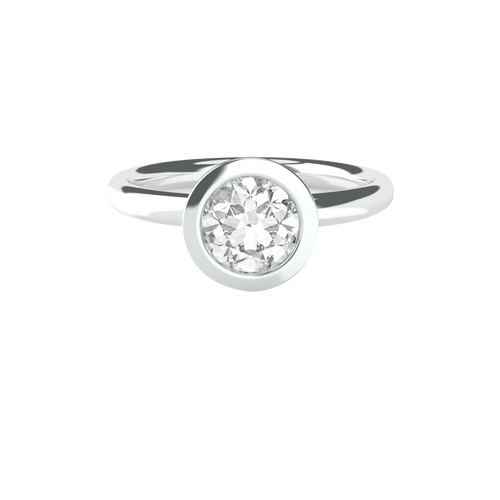 Brilliant Cut Bezel Set Solitaire 14ct White Gold Engagement Ring - 'Belize'