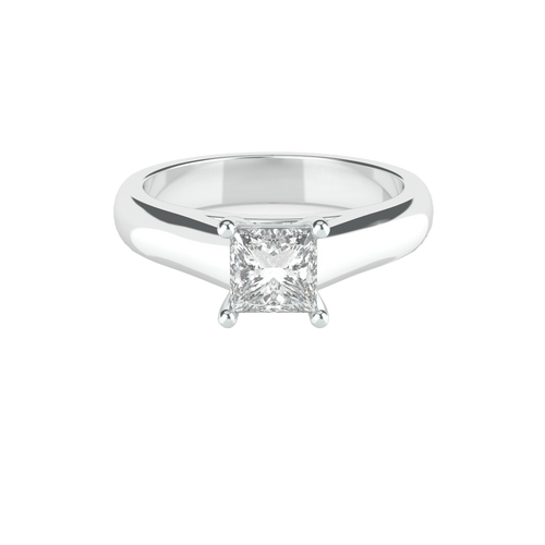 Princess Cut 4 Square Clawed Solitaire 14ct White Gold Engagement Ring - 'Vienna'