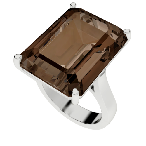 Emerald Cut Smoky Quartz Cocktail Ring (Silver)