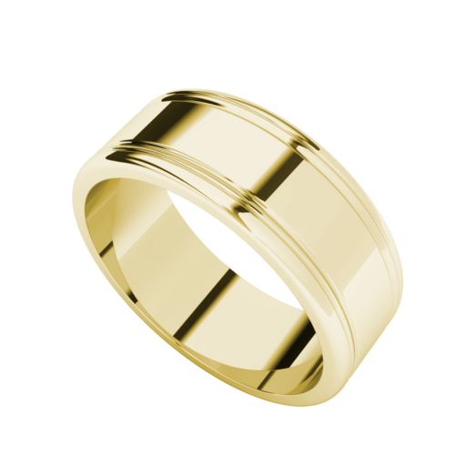 Men's Grooved Wedding Ring 9ct Yellow Gold