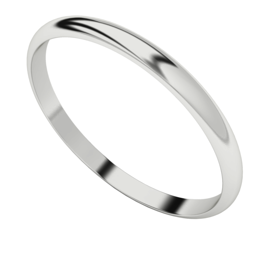 Bangle with Half-Round Profile - Sterling Silver