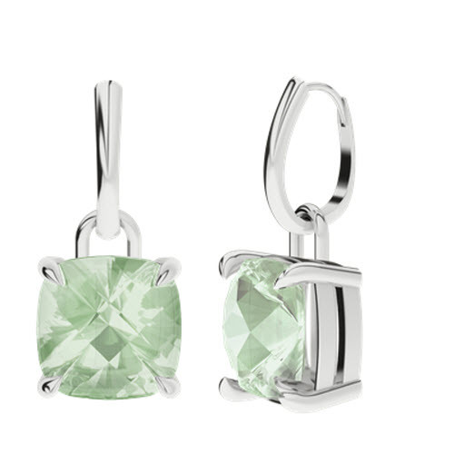 Green Amethyst Cushion Checkerboard Silver Drop Earrings