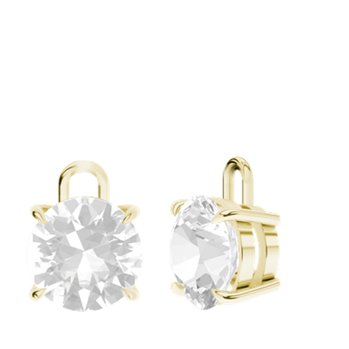 White Quartz 9ct Yellow Gold Round Brilliant Earrings - Drops Only