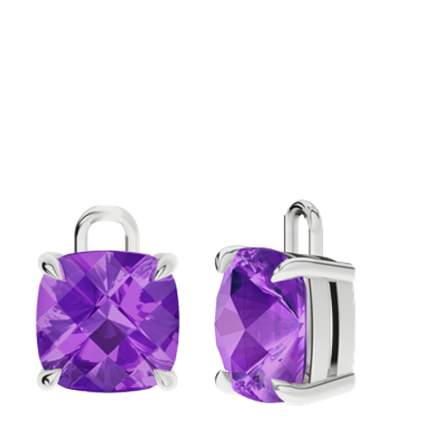 Amethyst Sterling Silver Checkerboard Earrings - Drops Only