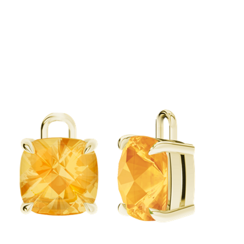 Citrine 9ct Yellow Gold Checkerboard Earrings - Drops Only