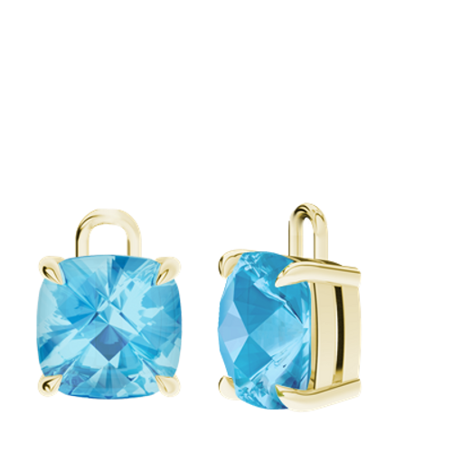 Blue Topaz 9ct Yellow Gold Checkerboard Earrings - Drops Only