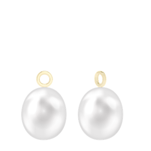 18ct yellow gold detachable pearl drop earrings