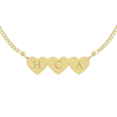 Three Joined Hearts Necklace - Yellow-Gold Plated Silver
