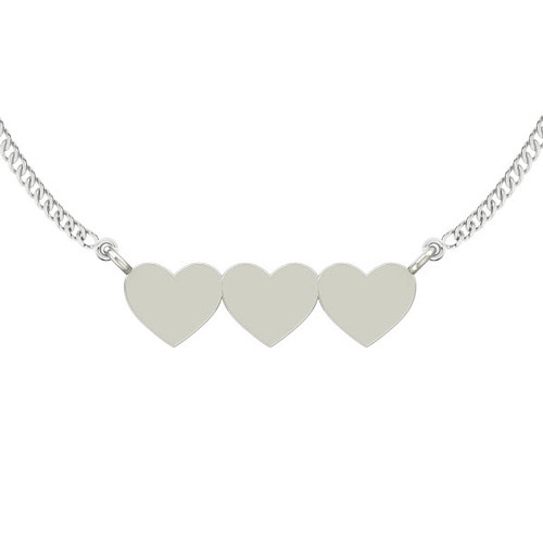 Three Joined Hearts Necklace - Sterling Silver