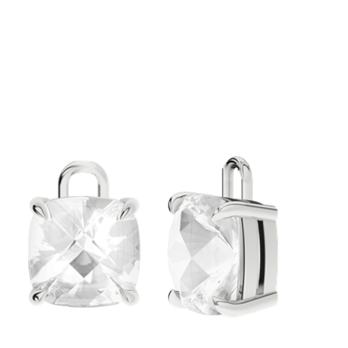 White Quartz 9ct White Gold Checkerboard Earrings - Drops Only