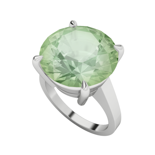9ct White Gold Green Amethyst Cocktail Ring