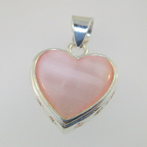 Sterling Silver Pink & White Mother of Pearl Flip Reversible Pendant