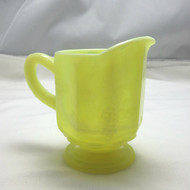 Antique Opalescent Canary Vaseline Glass Creamer Pitcher Paneled Grapes Design