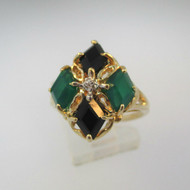 10k Yellow Gold Emerald and Black Onyx Fashion Ring Size 7