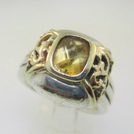 Sterling Silver & 14K Filigree Citrine Checkerboard Cut Ring Size 7