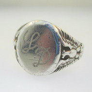 Sterling Silver OB Mens Initial Monogram Signet LD Eagle Ring Size 11.5