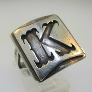 Sterling Silver Initial Monogram Signet K Ring Size 7.5