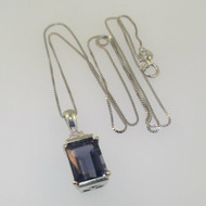 14K White Gold Emerald Cut Iolite with Diamond Accent Necklace