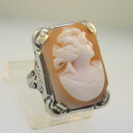 Vintage Antique 10K White Gold Cameo Filigree Ring Size 4