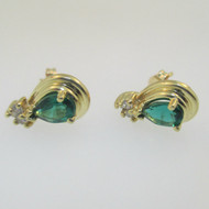 14K Yellow Gold Created Emerald with Diamond Accent Teardrop Earrings