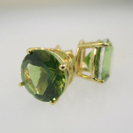 14k Yellow Gold Round Peridot Stud Earrings