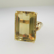 Vintage 14k Yellow Gold Citrine Fashion Ring Size 7 1/2