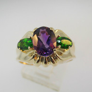 14k Yellow Gold Amethyst and Chrome Diopside Ring Size 8 1/4