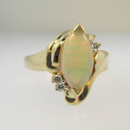 14k Yellow Gold Marquise Cut Natural Opal Ring with 4 Diamond Accents Size 8