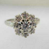 Vintage 14k White Gold Approx .15ct Round Brilliant Cut Diamond RIng with Diamond Halo Accent Size 5 3/4