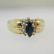 10k Yellow Gold Marquise Cut Sapphire Ring with Diamond Halo Size 7 3/4