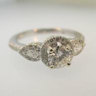 14k White Gold .41ct Round Brilliant Cut Diamond Ring with Diamond Halo Accents Size 6 3/4