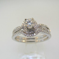 14k White Gold .25ct Round Brilliant Cut Diamond Ring with Twisting Diamond Halo Accent with Wedding Band Size 7