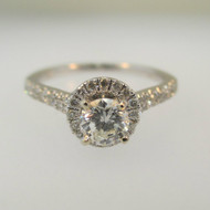 14k White Gold .38ct Round Brilliant Cut Diamond Ring with Diamond Halo Accents Size 7