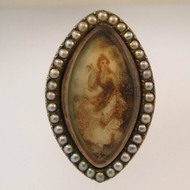 Georgian Era Dated 1796 Mourning or Memorial Ring Hair Inside Over Painted Porcelain and Seed Pearls Size 5 1/2