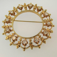 Vintage 14k Yellow Gold Approx .75ct TW Round Brilliant Cut Diamond Brooch Pin