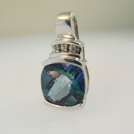 10k White Gold Mystic Blue Topaz Pendant with Diamond Accents