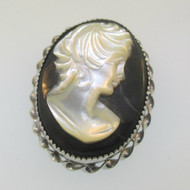 Vintage Style Sterling Silver Pendant and Pin Brooch Cameo