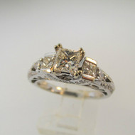 14k White Gold .53ct Princess Cut Diamond Ring with Diamond Accents Size 6 1/2