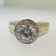 14k Yellow Gold Valina Diamond Accented Semi Mount with CZ Center Size 4 1/2